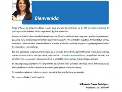 PRESENTACIÓN XIX JORNADAS ANDALUZAS DE PODOLOGÍA
